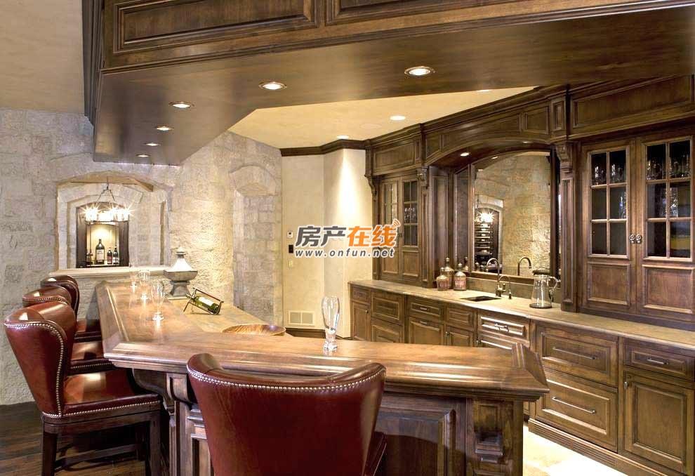 复古欧式墙纸吧台装修效果图厨房一米多少钱图片