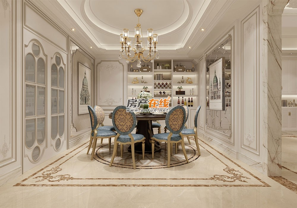 舒适美式风格餐厅白色背景墙图片